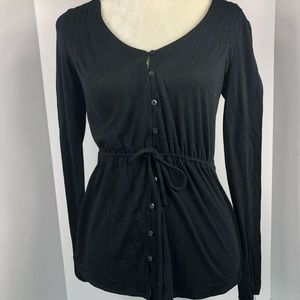 Women's black converse button down blouse size s